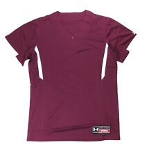 Under Armour Performance Softball 2 Button Henley Jersey Women's Large Maroon