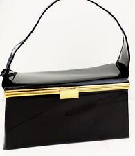 1950s 60s Black Vinyl Box Purse Handbag Rockabilly Vintage Retro Womens Ladies