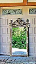 Antique 19c Renaissance Revival Style Cherub Faces And Twin Lion Heads Mirror