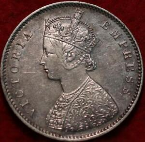 1892-B British India 1/2 Rupee Silver Foreign Coin