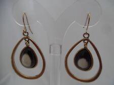 """Pierced 2 1/4"""" brass dangling hoop earrings w/brown & white stone"""