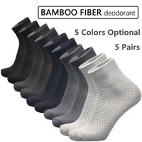 5Pairs Men Bamboo Fiber Socks Business Anti-Bacterial Deodorant Breathable Sock