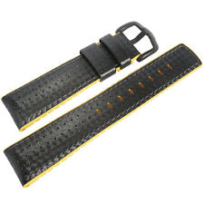 24mm Hirsch Performance Ayrton Black Carbon Yellow Rubber PVD Watch Band Strap