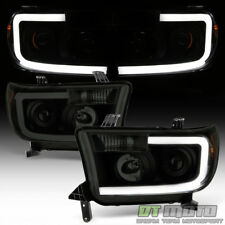 For [NEW Design] Blk Smoke 2007-2013 Toyota Tundra LED Tube Projector Headlights
