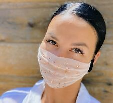 Stylish Rhinestone Mesh Fashion Face Mask Transparent Sheer Mouth Cover Beige