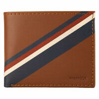 NEW TOMMY HILFIGER PASSCASE CREDIT CARD BILLFOLD MEN'S BROWN LEATHER WALLET