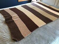 "Brown White Neutral Tight Rib Stitch Knit Crochet Afghan Blanket Throw  76x62"""