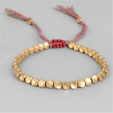 Lucky Rope Bracelet Handmade Tibetan Buddhist Braided Cotton Copper Beads Gifts