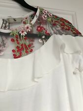 White Tu Top With embroidered Chiffon Neck Line Size 8