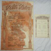 Vintage Menu from Villa Victor Restaurant of Syosset, Long Island, New York