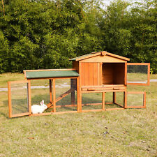 "54"" Wooden Rabbit Hutch Bunny Cage Chicken Coop Animal Lockable House W/Run"