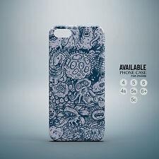 nice blue artwork doodle phone case for iPhone 4, 4s, 5, 5s, 5c, 6, 6plus