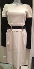 Philosophy By Alberta Ferrette Cream Wiggle Sheaf Italian Designer Dress UK 6