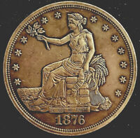 1876~TRADE DOLLAR~PROOF-ALMOST UNCIRCULATED DETAILS-TYPE I/2-ONLY 1,150 MINTED