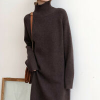Womens Knitted Wool Sweater Dress Loose Cashmere Turtleneck Winter Korean Jumper