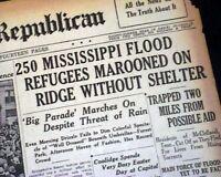 GREAT MISSISSIPPI FLOOD Delta Arkansas Tennessee Disaster 1927 Old Newspaper