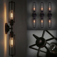 Vintage Industrial Retro Iron 1/2 Heads Wall Lamp Sconce Light Edison Bulb Decor