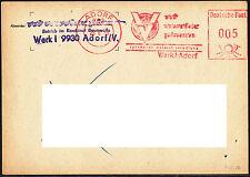 Karte DDR Freistempel VOWETEX Plauen Werk I Adorf 1989