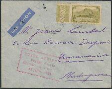 Lettre 1er vol (voyage d'étude) Réunion Madagascar 1938 ,first flight cover