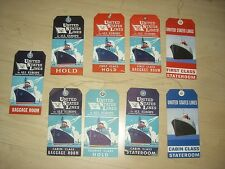 9 Schiff Koffer Anhänger baggage label old Ship United States LINES from 1930