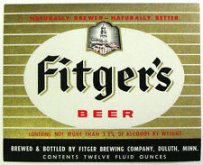 Fitger Brewing Co FITGER'S BEER label MN 12oz Black Stripe -  Not more than 3.2%