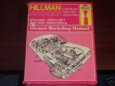 Hillman Avenger 1970 - 1977 Haynes Manual 037 Chrysler 1250 1300 1500 1600