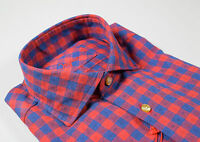 Camicia Ingram slim fit collo francese a quadri blu e rosso in flanella rasata