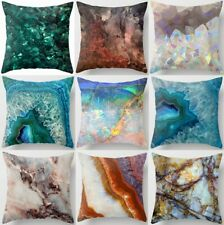 "Throw Pillow Cover Marble Print Blue White Soft Decorative Cushion Case 18x18"""
