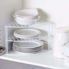 White Steel 3 Tier Corner Kitchen Cupboard Plate Dish Stand Holder Storage Rack