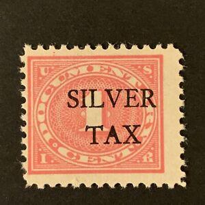 U2/5 US Stamp revenue BOB Silver Tax OVPT Scott #RG1 1c MNHOG Shining Gum Great
