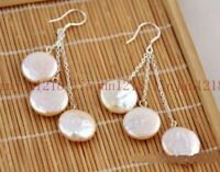 Natural 11-13mm Pink freshwater Coin Pearl 925 Silver Hook Earring