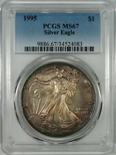 1995 Silver Eagle Coin PCGS MS67  **Colorful Toning**