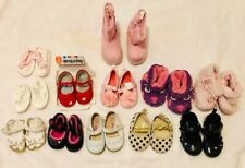 Lot of 12 Baby Girl Shoes Various Sizes & Styles 0-12M Sandals Mary Janes Boots