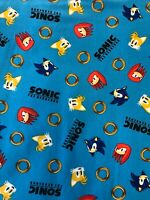 "Sonic the Hedgehog Fabric - Characters & Gold Rings - by the fat eighth (9""x21"")"