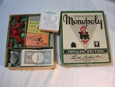Vintage Monopoly Game Popular Edition Parker Brothers  No board Parts