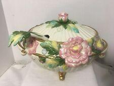 Fitz & Floyd Classics Les Fleurs Tureen w Ladle Centerpiece Ornate Floral