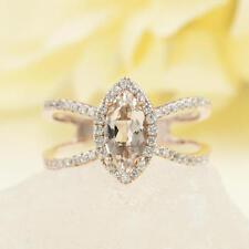 Marquise Cut Shaped Morganite Engagement Double Diamond Ring.Wedding Ring.
