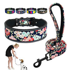 Reflective Dog Collar and Lead set Soft Padded Pet Wide Collar Walking Leash S-L