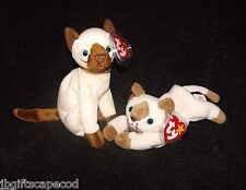 2 BEANIES - SIAMESE CATS SIAM AND SNIP - 4G HANG - MWMT - ERROR - PVC - ADORABLE