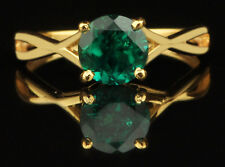 100% Natural Green Emerald 14KT Yellow Gold Round Shape 1.45CT Solitaire Ring