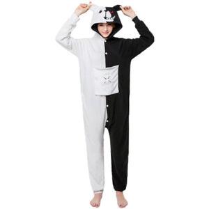 Anime Danganronpa Monokuma Cosplay Pajamas Black & White Bear Hoodie Unisex Suit