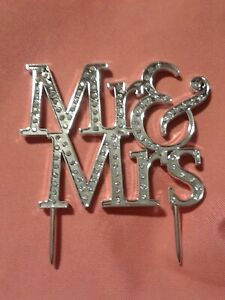 Mr.& Mrs. CAKE TOPPER WEDDING  ANNIVERSARY  VALENTINE'S DAY Silver Rhinestones