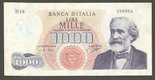 1.000 lire VERDI I TIPO D19 del 05-07-1963 SPL/SUP 1000 RARA2 Italy 1,000