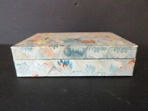 Vintage Florence Italy Covered Marbled Paper Wood Jewelry Box IL Papiro
