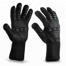 1 Pair Heat Resistant High Quality Non-Slip BBQ Baking Oven Gloves (Black)