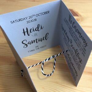 Wedding invitation handmade personalised silver Elegant Simple rustic Glitter