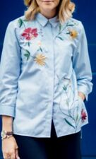 ZARA BLUE WHITE STRIPED EMBROIDERED SHIRT BLOUSE TOP M 12