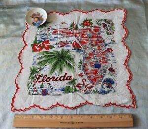 """Vintage c1940 Florida Map Souvenir Cotton Hanky~Palm Trees, Beach~12.5""""Square"""