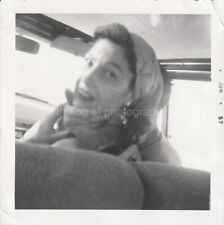 Car Girl WOMAN 1950's FOUND PHOTO bw FREE SHIPPING Original Snapshot 96 12 P