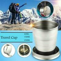 Stainless Steel Telescopic Cup 3/4/6 Folding Cup & New Outdoor Campin Keych S1F2